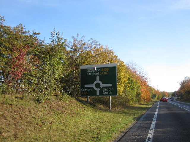 Lincoln Bypass - Approaching the (A46) Lincoln Road Roundabout