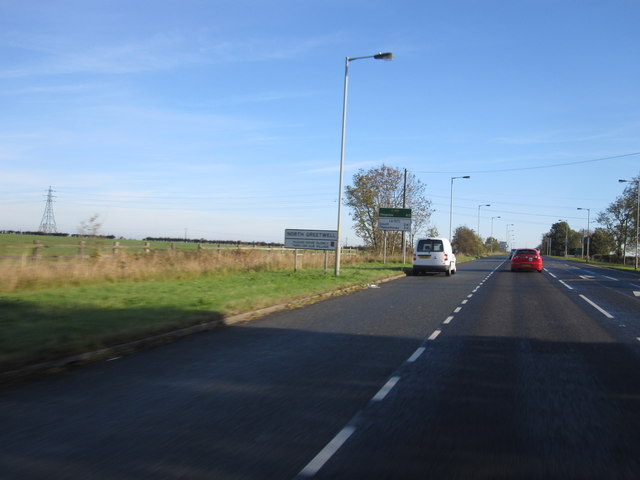 Wragby Road East (A158) at North Greetwell