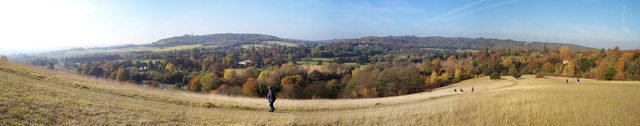 The view West from the ascent to Box Hill
