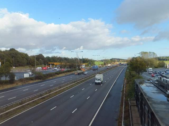 The M6 seen from the bridge at Keele Services