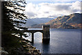 NY4713 : Reservoir pier and tower by Ian Greig