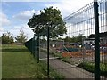 TQ3377 : Fence and path, Burgess Park by Derek Harper
