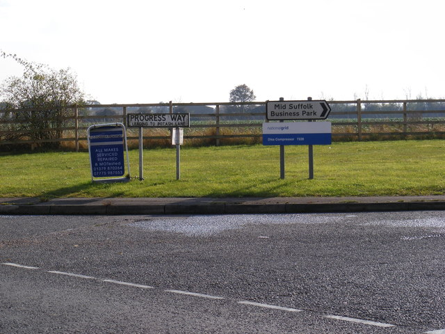 Progress Way and The Mid Suffolk Business Park signs