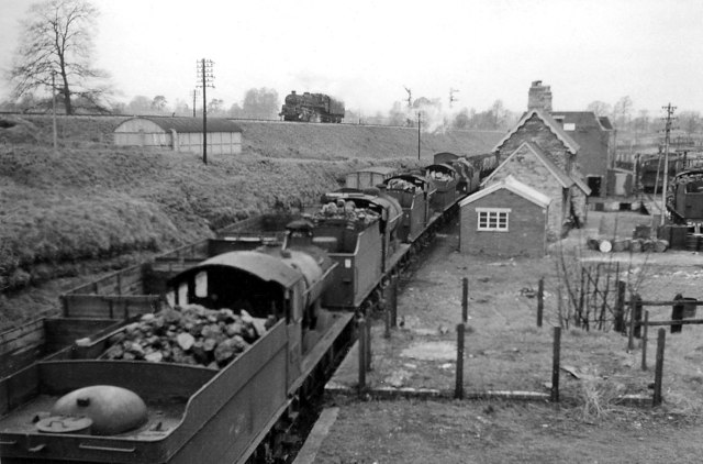 Templecombe: locomotives lined up beside old S&D Lower Station