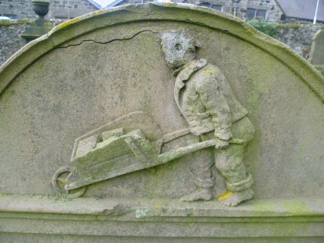 George Arnot at work, Burntisland Kirkyard