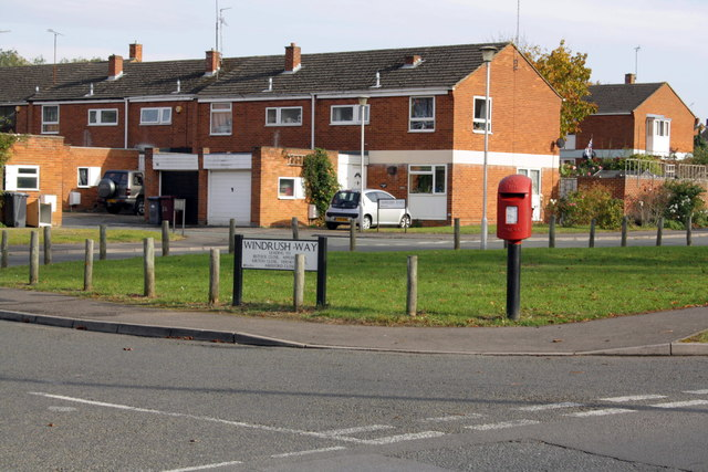 Post box at junction of Windrush Way and Water Road