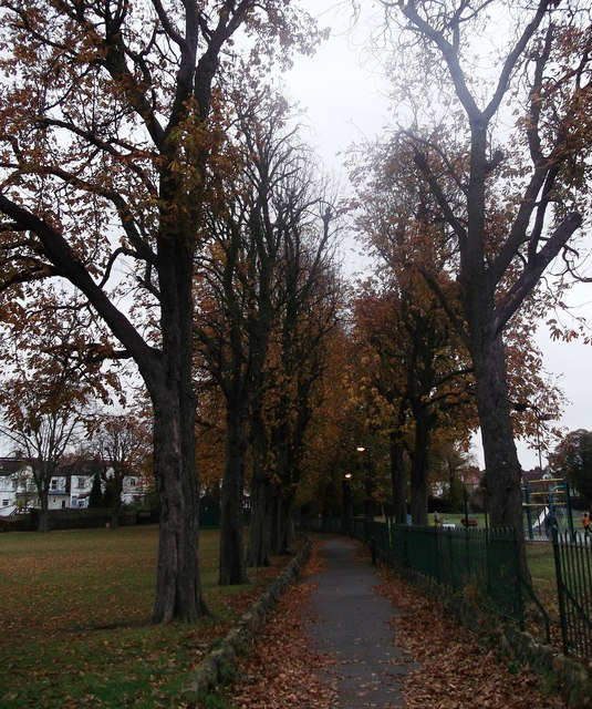 Path and trees in Thornton Heath Recreational Ground