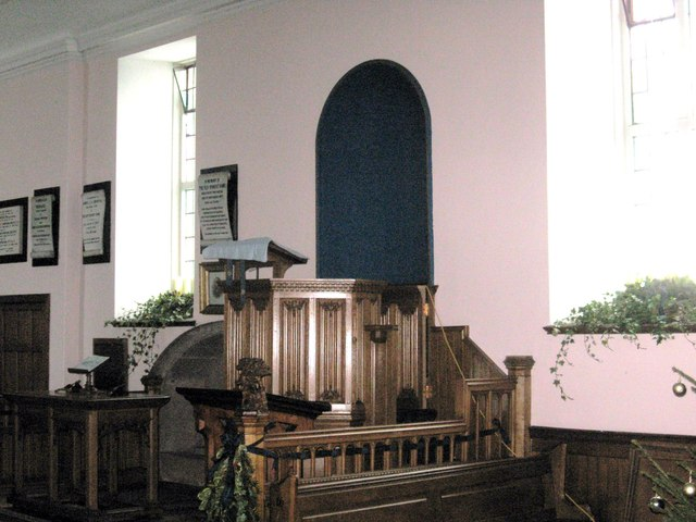 The pulpit and communion table at Swinton Kirk