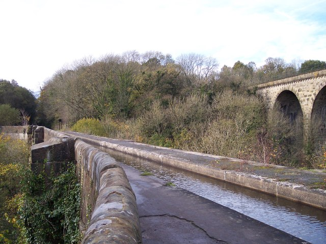Marple Aqueduct and railway viaduct crosses the River Goyt