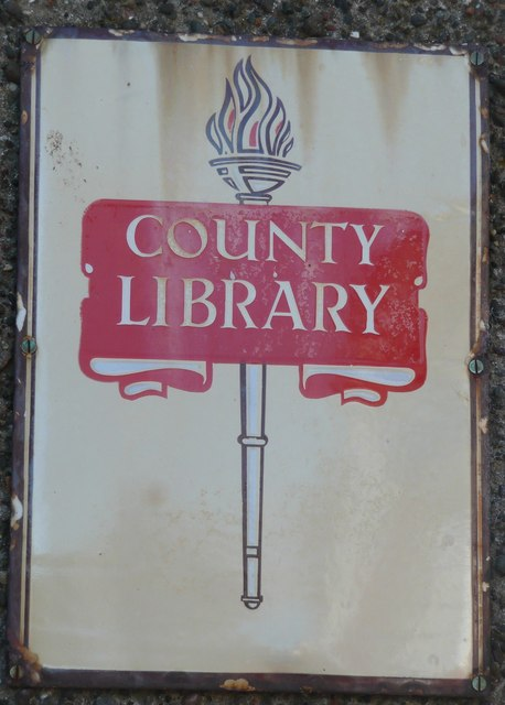 Old sign on the library, Ballantrae