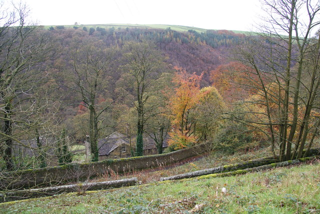 Tracks and houses at Lumb Bank
