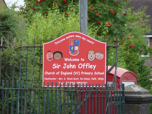 Sir John Offley CofE Primary School, Madeley, Sign