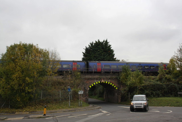 View of Laverstock Road railway bridge from Kelsey Road