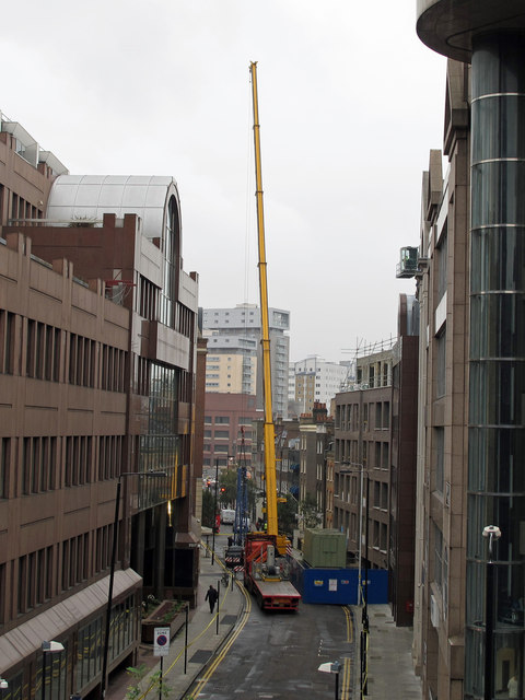 Construction crane in Alie Street