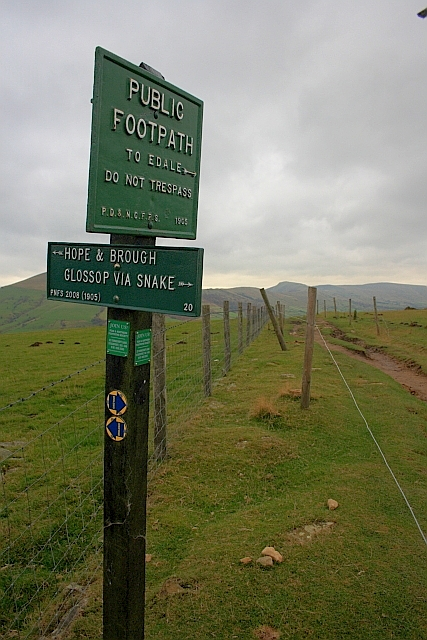 Public Footpath Sign, near Hope Cross