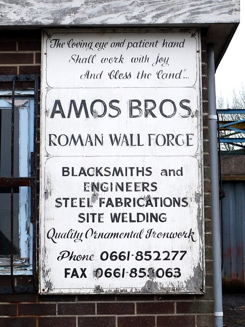 Amos Bros. Roman Wall Forge, Heddon on the Wall