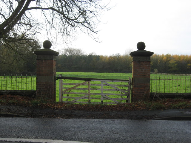 Ornamental gateway framing the view of Pasture from Bostock Hall