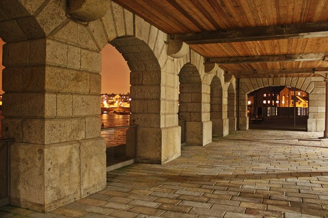 One of the covered archways in Plymouth's Royal william Yard