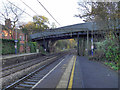 SJ9183 : Chester Road Railway Bridge, Poynton Station by David Dixon