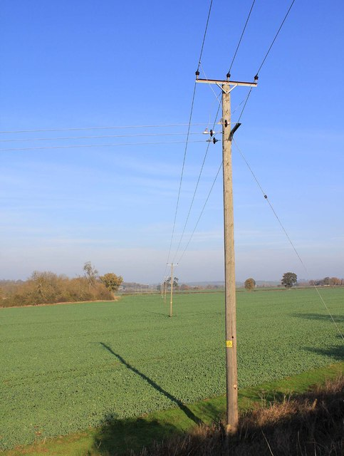Power lines north of dismantled railway