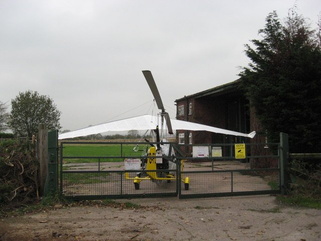 Gyrocopter (rare) and microlight (common) at Ashcroft Farm private airstrip
