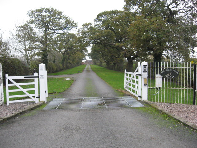 Entrance gates and driveway to Holmston Hall, Caravan Site and Fishery
