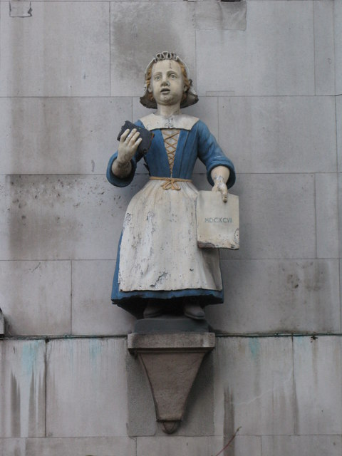 St. Andrew's Church, St. Andrew's Street / Holborn Viaduct, EC4 - Bluecoat girl statue