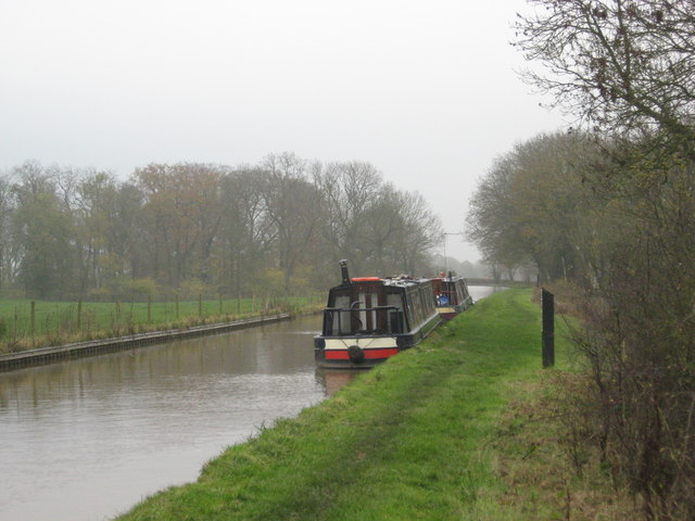 Two narrow-boats moored up in the Shropshire Union Canal