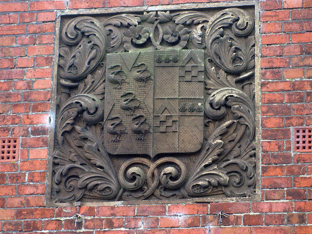 Crest on Scalby Manor's former gatehouse