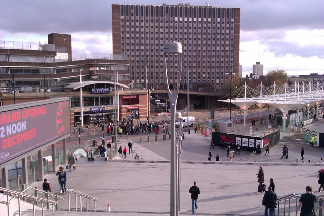 Looking towards Stratford Centre from Footbridge