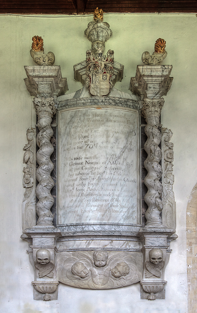 Monument to William Trenchard -  St Nicholas' church, North Bradley
