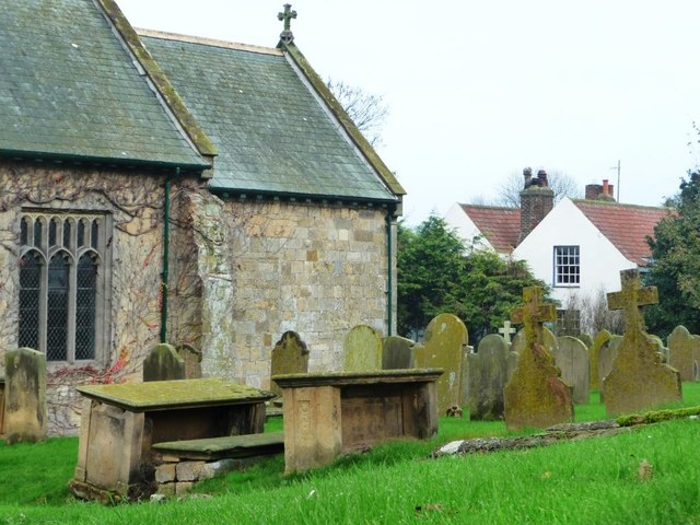 Eastern end of Folkton church and churchyard