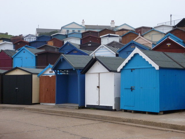 Walton on the Naze: lines of beach huts