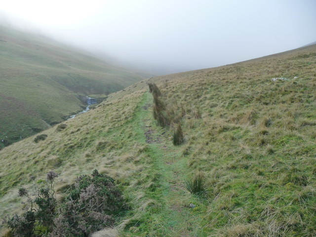 Path towards the waterfall in Cwm Sere