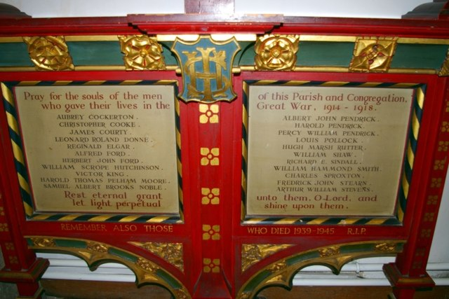 War memorial in Little St Mary's Church