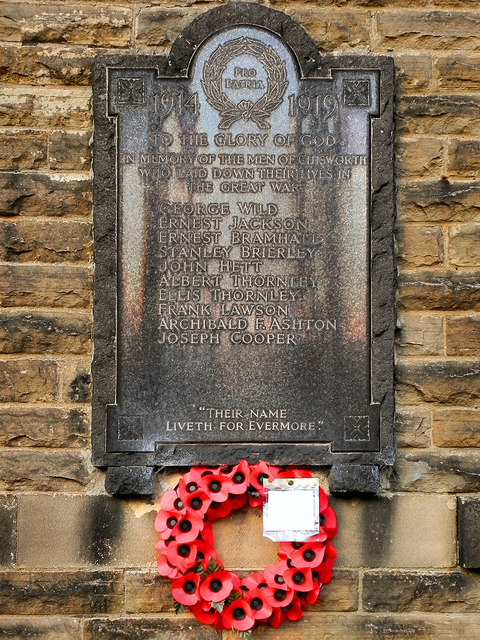 War Memorial, Chisworth Methodist Church