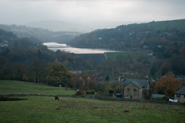 View from Roosdyche Whaley Bridge over Toddbrook Reservoir