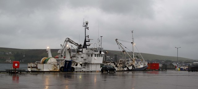 Norwegian pelagic trawler sheltering in Scalloway harbour