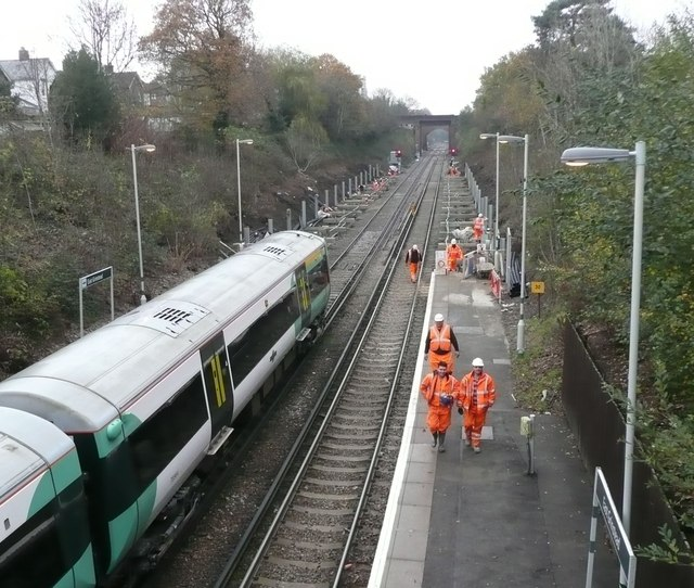 Work on an extension to the platform at East Grinstead station