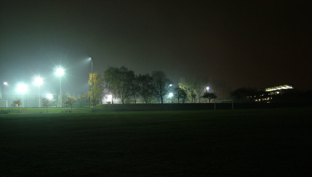 Sports arena by night