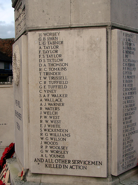 Hitchin War Memorial - World War Two Panel - S to Y