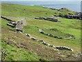 HU5240 : Ruined croft houses and sheepfold, Noss Sound by Rob Farrow