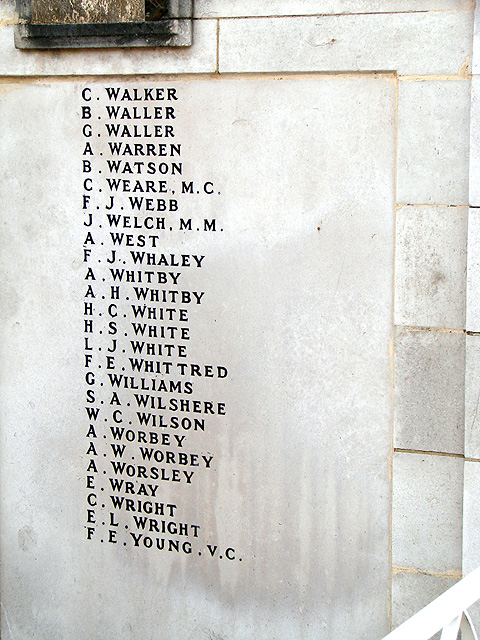 Hitchin War Memorial - Great War Panel - W to Y