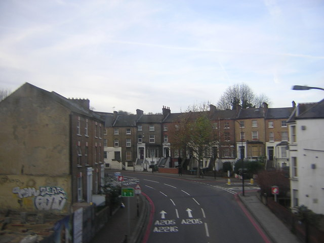 Forest Hill: South Circular Road seen from the railway