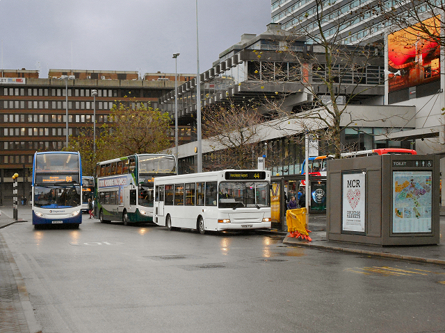 a bus station scene