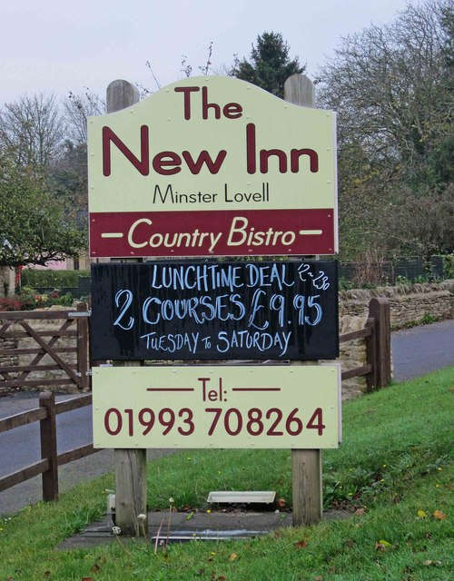 The New Inn (2) - sign, Burford Road, Minster Lovell