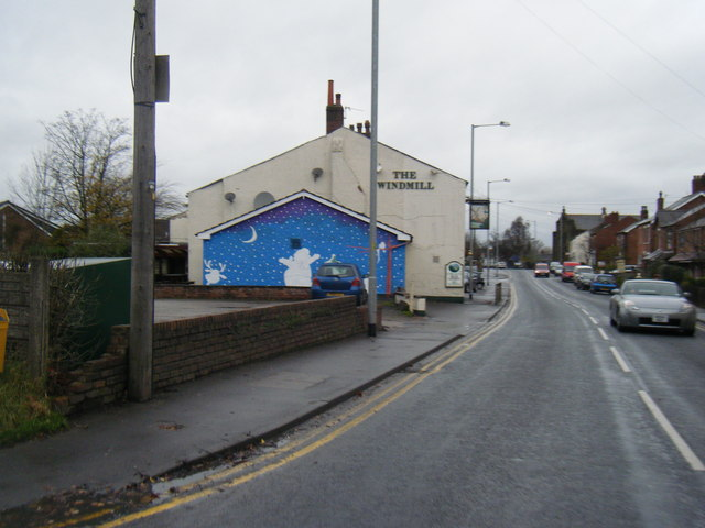 The Windmill, Eccleston, with Christmas mural