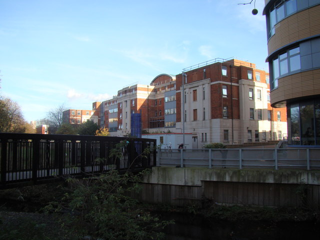 View of the University Hospital buildings from Ladywell Fields