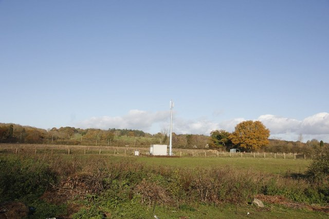 Phone mast across the field