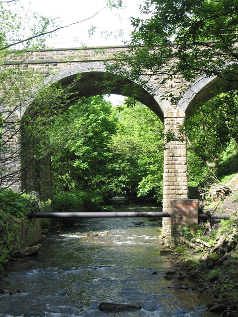 Railway viaduct over River Sett New Mills
